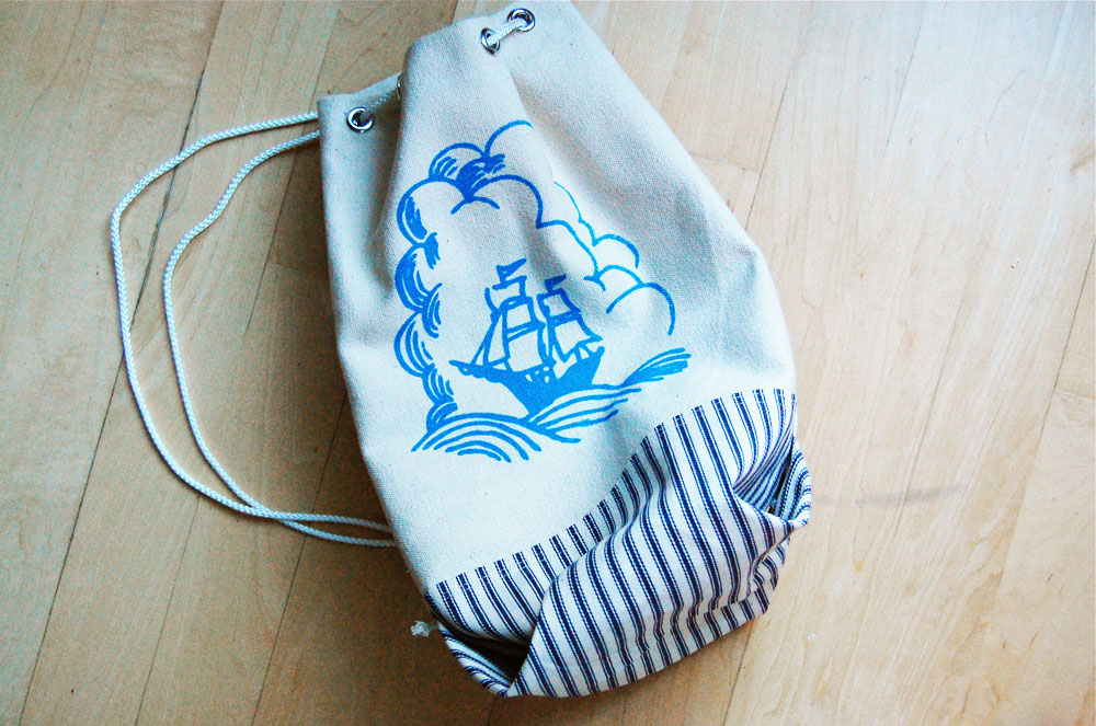 A custom drawstring stuff bag