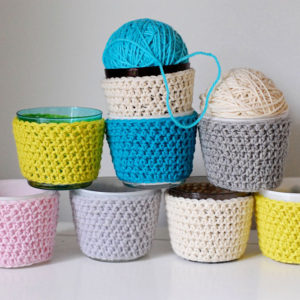 crocheted candle cozy