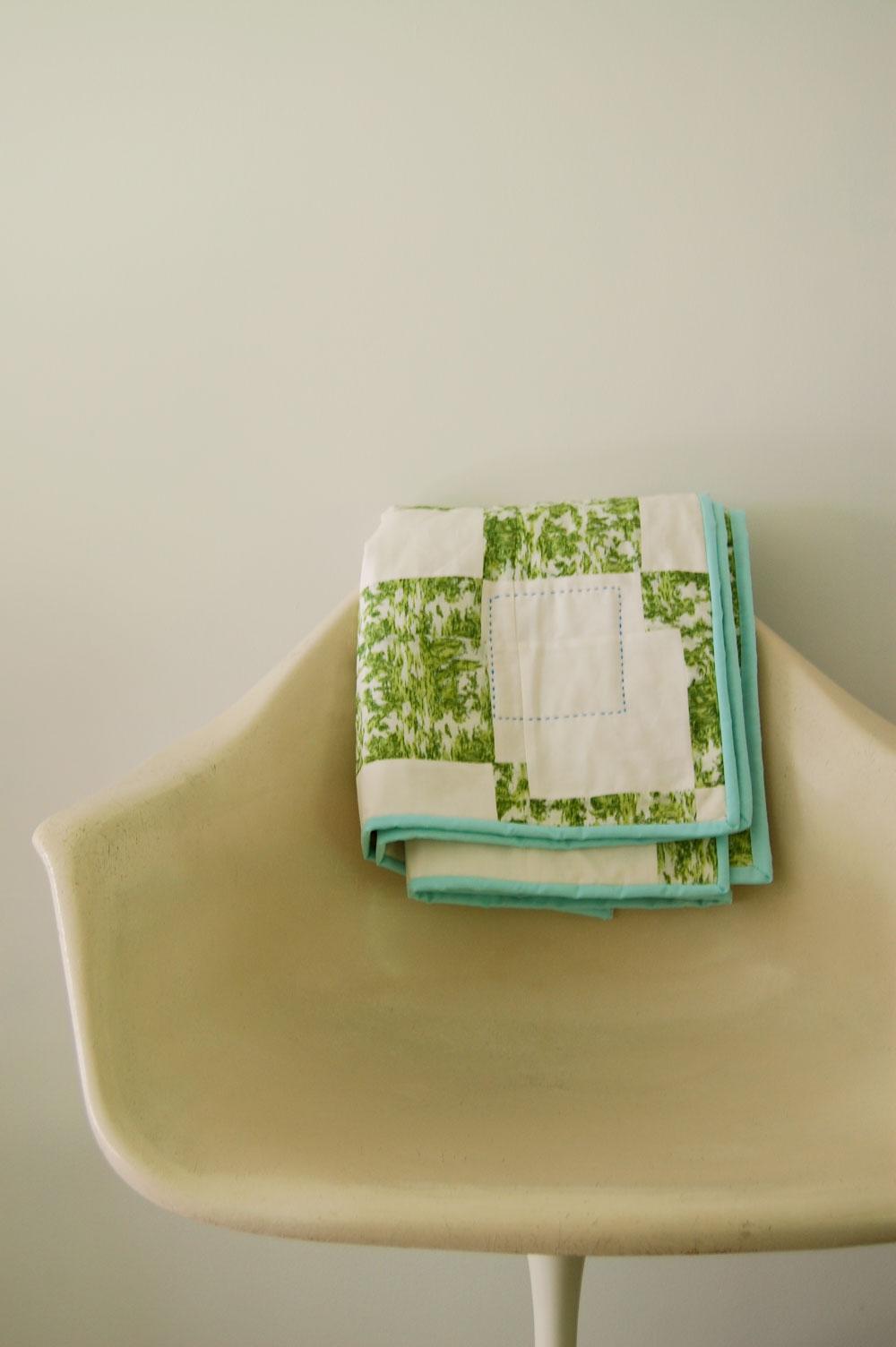 Toile four patch quilt