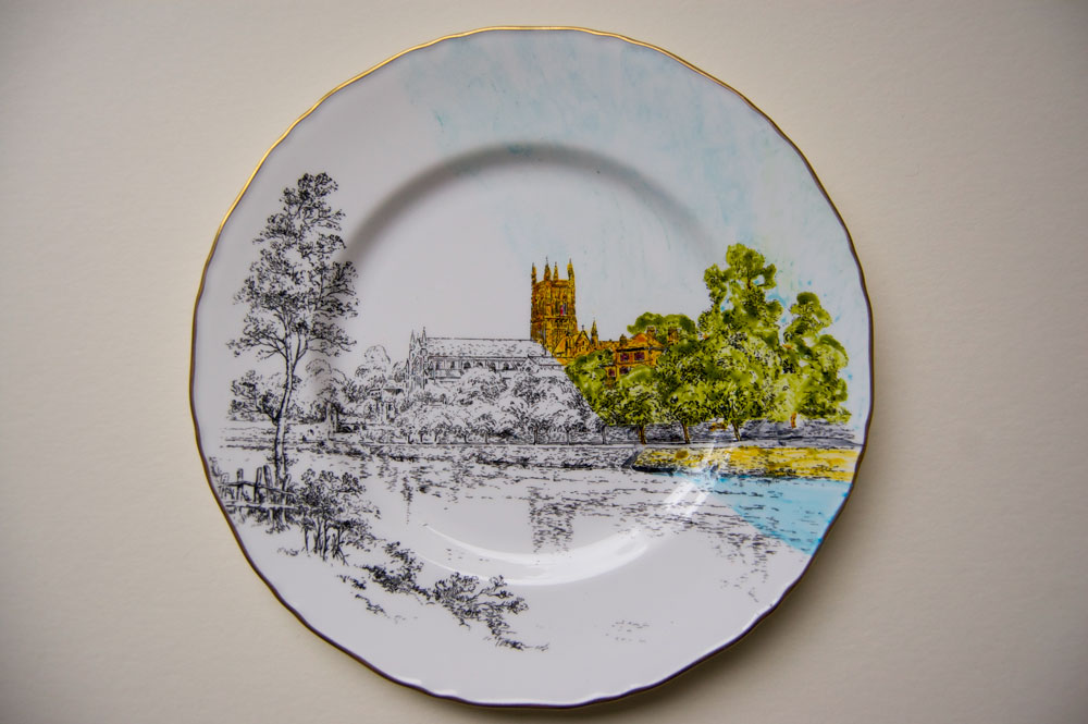 thrift store plate paintings