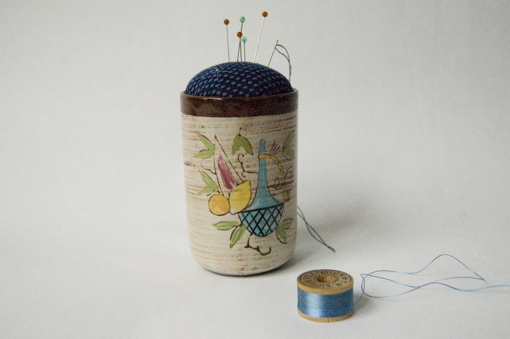 Sake cup pincushion