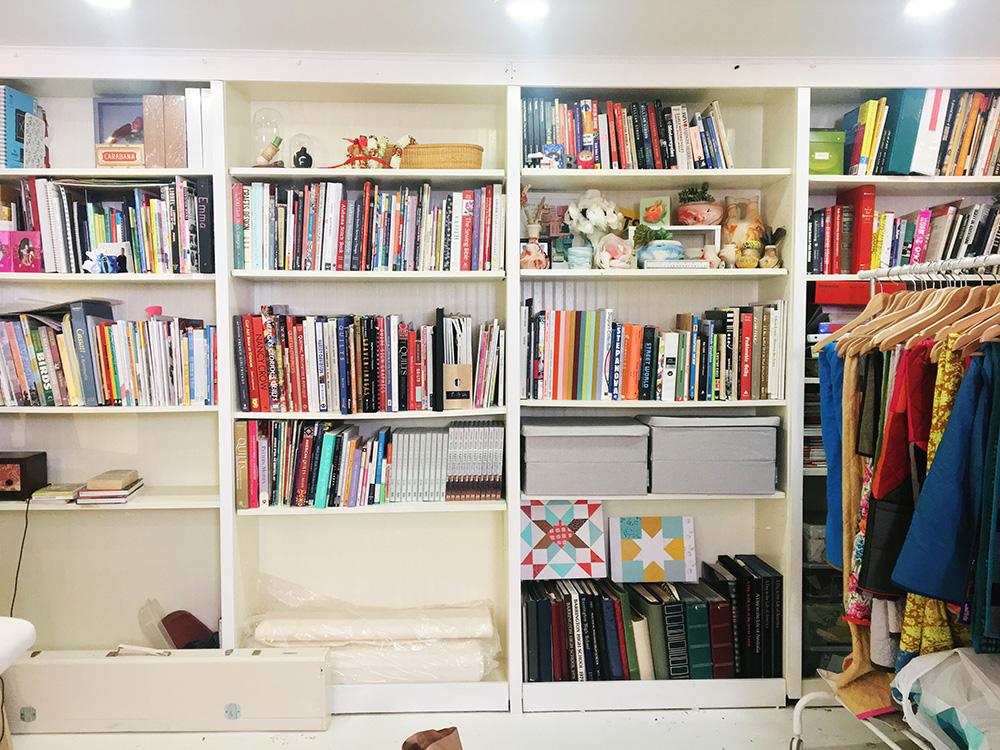 bookshelves after