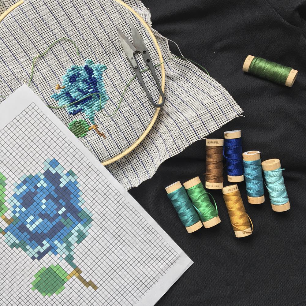 DIY Cross Stitch Flower supplies