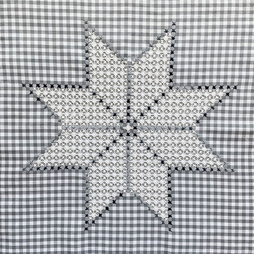 Quiltcon Gingham Embroidered Star