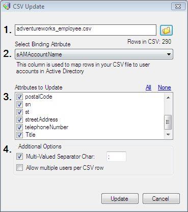 Bulk AD Users - CSV Update dialog