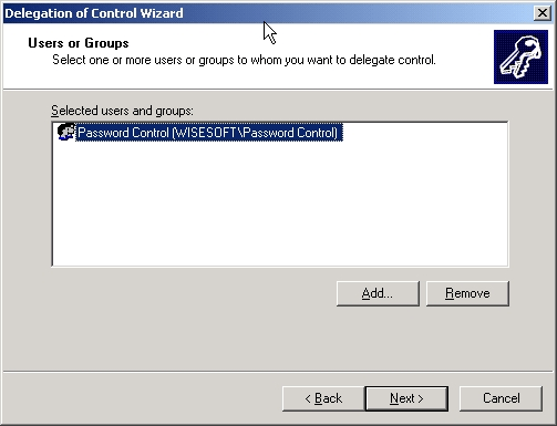 Delegation Of Control Wizard - Users or Groups Step