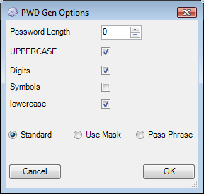 Password Generation Options - Standard