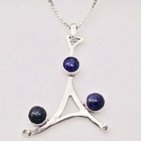 Bespoke lapis lazuli and diamond silver pendant