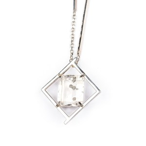 Quartz and pyrite in silver geometric necklace front view