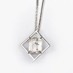 Emerald cut quartz with pyrite inclusions. Set in sterling silver handmade designer angular pendant for sale