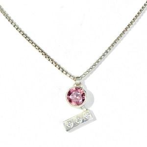Zircon and diamond pendant front view