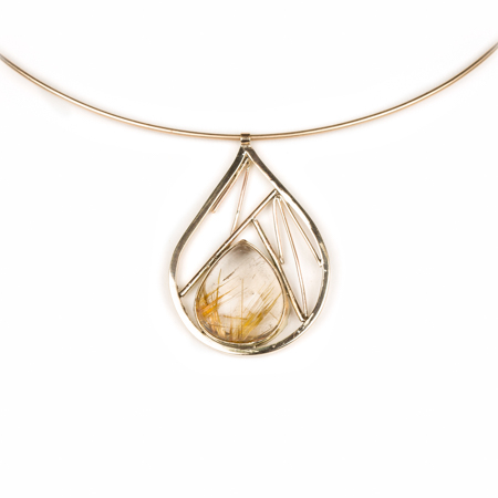 Rutilated quartz geometric inside out choker