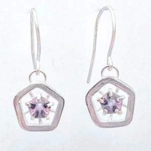 Hope drop earrings - dark lilac (medium)