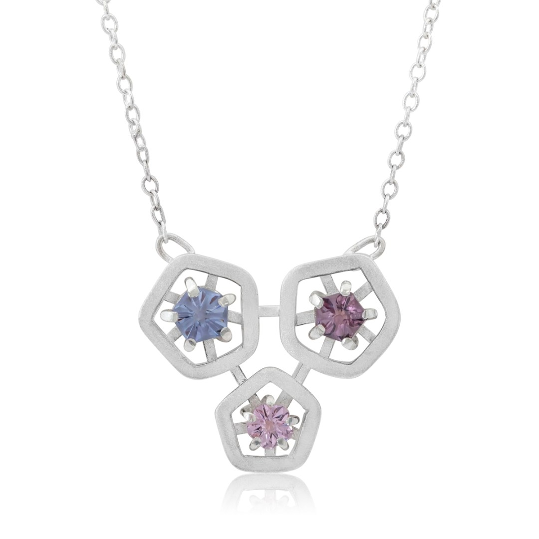 Hope triple pendant - blue, light pink and dark pink cropped