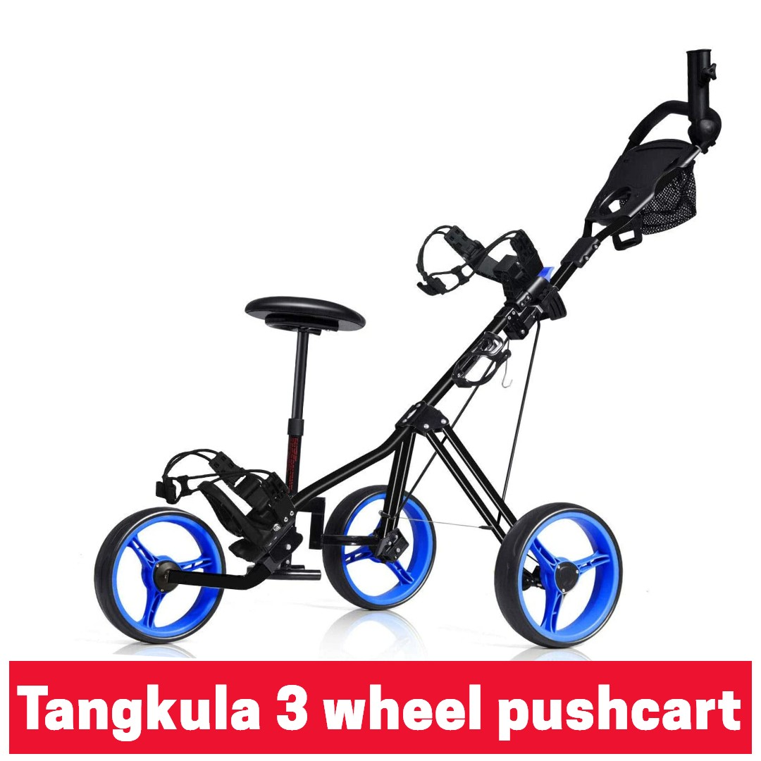 Tangkula golf 3 wheel pushcart with seat