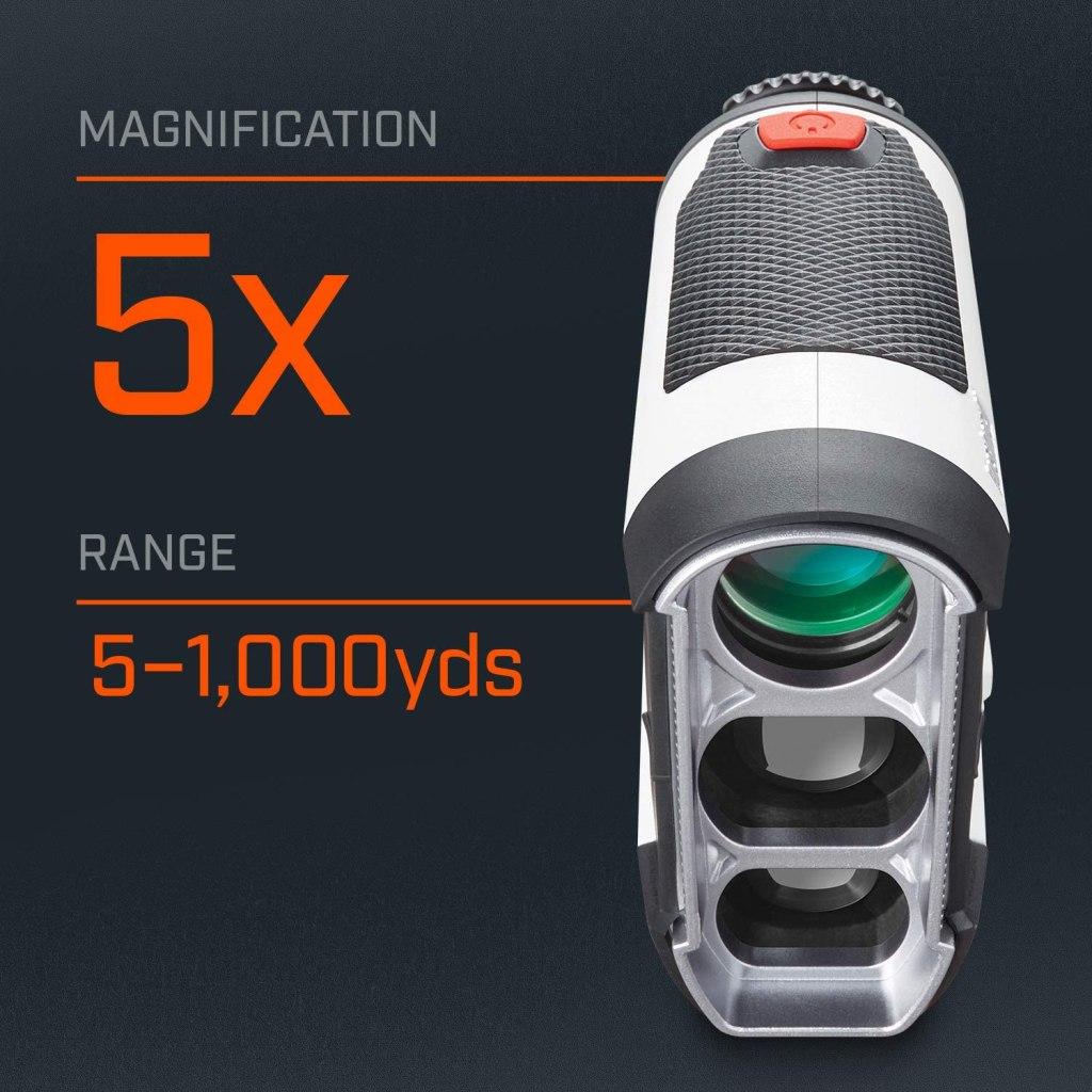 Bushnell golf rangefinder model Tour V4 JOLT also has 5X intensification volume