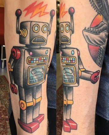 retro robot traditional tattoo