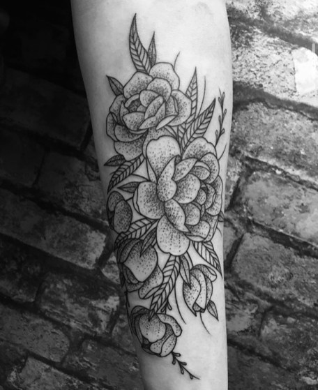 dot work flowers tattoo