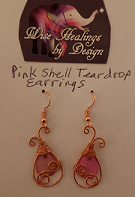 Pic of Pink Shell Teardrop Earrings. Click to go to its Jewelry Reading.