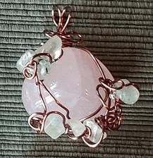 Rose Quartz and Prehnite Pendant