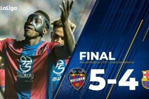 VIDEO: Levante vs Barcelona 5:4 – Highlights & Goals