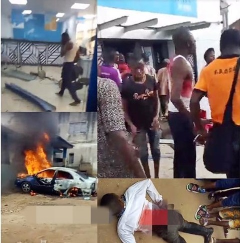 Policeman, Bank Worker Killed As Armed Robbers Attack Popular Bank In Ekiti State (Photos)