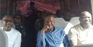 VIDEO: See Femi Otedola, Governor Ambode And Aliko Dangote Enjoying A Bus Cruise In Lagos