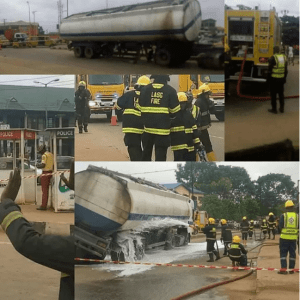 PHOTOS: Another Tanker Carrying Petrol Falls In Lagos
