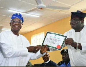INEC Presents Certificate Of Return To Oyetola As Osun State Governor-elect