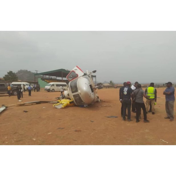Yemi Osinbajo's Chopper Crashes (Photo)