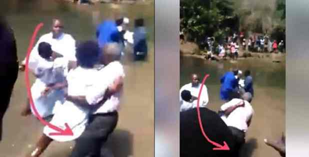 Lady Drags Pastor Into The River During Church Baptism (Video)