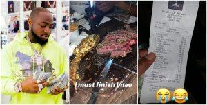 Davido Spends N980k To Eat 24-karat Gold Coated Meat (Photo + Videos)