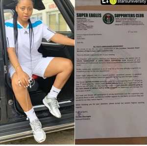 Super Eagles Supporters Club Appoints Regina Daniles As Youth Ambassador