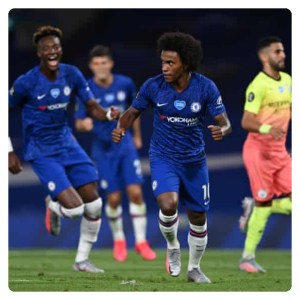 Willian and Tammy Abraham celebrates Chelsea goal against Man City