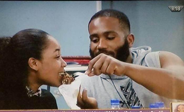 Kiddywaya feeding Erica before the BBNaija Lockdown party