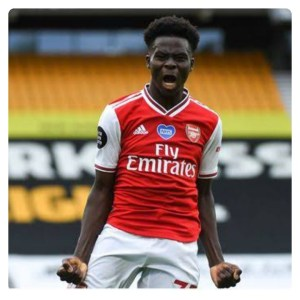 Bukayo Saka celebrate his goal in Wolves vs Arsenal 0:2 match