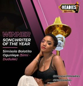 Simi songwriter of the year for 14th Headies awards