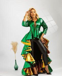 Erica Bbnaija in green and black dress for photoshoot