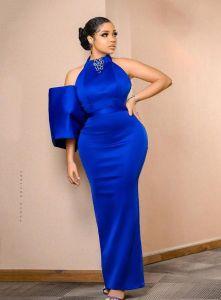 Nengi in blue long gown dress
