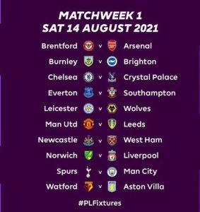 Premier League 2021/22 Fixtures (Opening Matches)