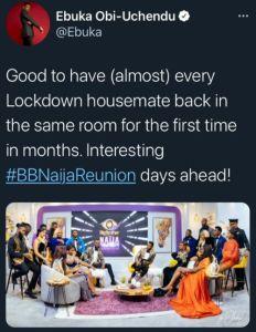 Bbnaija ebuka reunion show post
