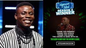 Kingdom Kroseide Wins Nigerian Idol 2021 Season 6 Edition
