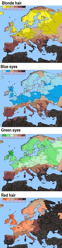 Rubios, ojos azules, ojos verdes y pelirrojos en Europa.