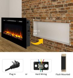 puraflame alice 40 inches recessed electric fireplace wall mounted for 2 x 6 stud log set  [ 1024 x 1024 Pixel ]