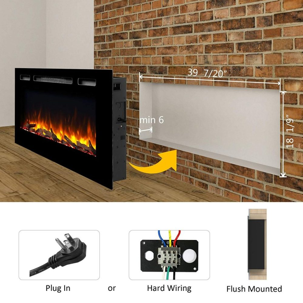 medium resolution of  puraflame alice 40 inches recessed electric fireplace wall mounted for 2 x 6 stud log set