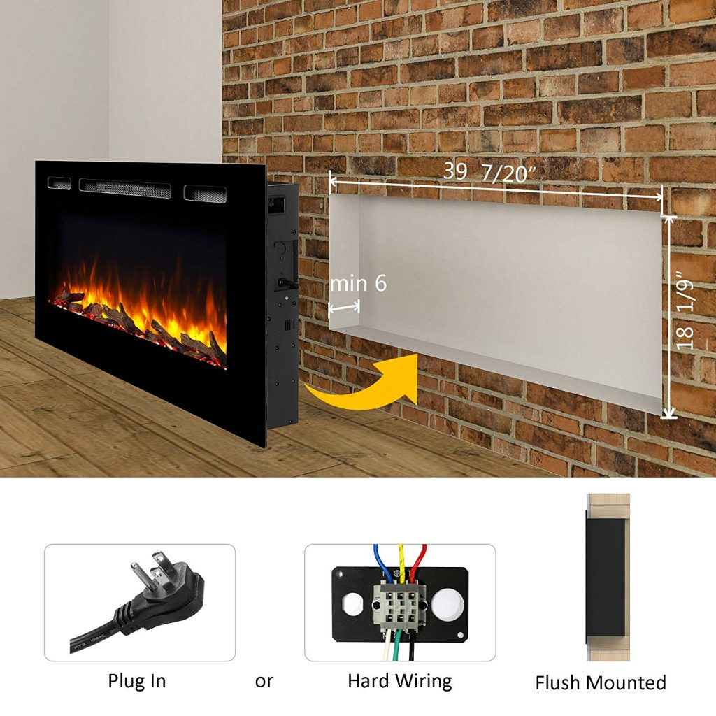 hight resolution of  puraflame alice 40 inches recessed electric fireplace wall mounted for 2 x 6 stud log set