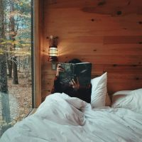 tfp31 uid10 reading in bed tiny forest cabin