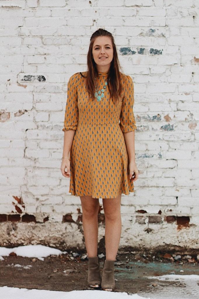 boho mustard dress