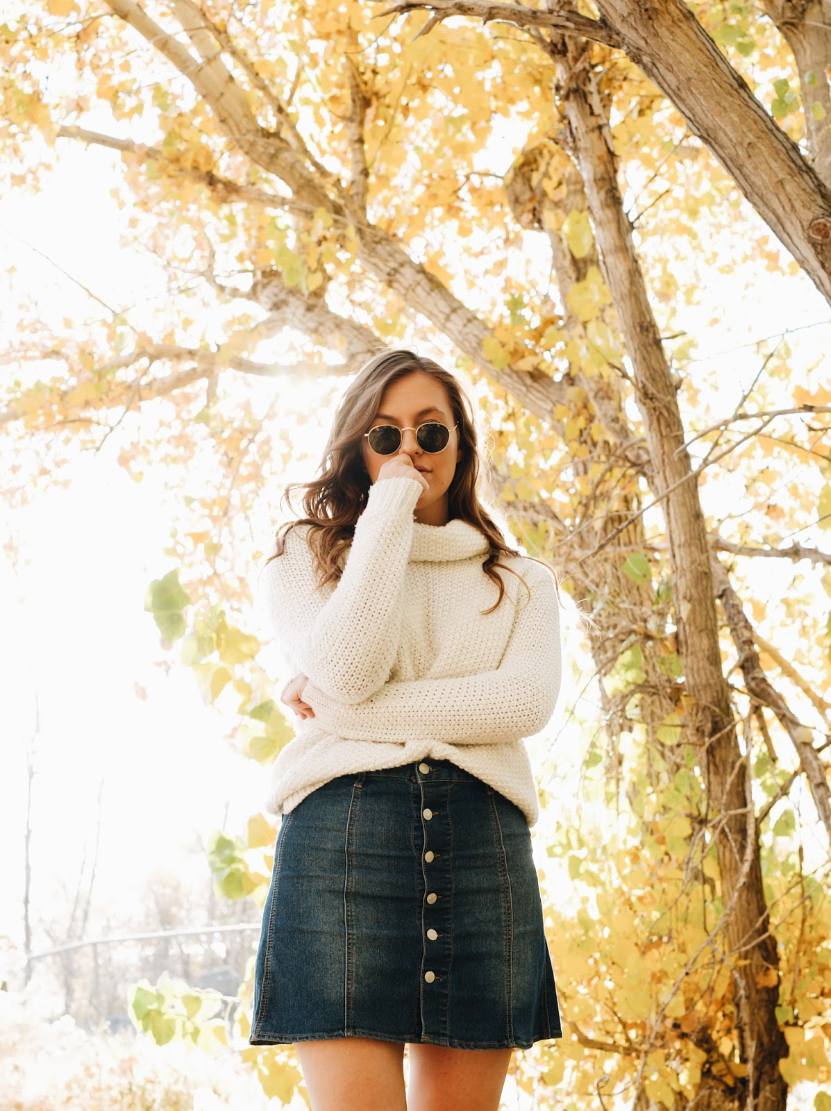 cozy white turtleneck sweater outfit fall