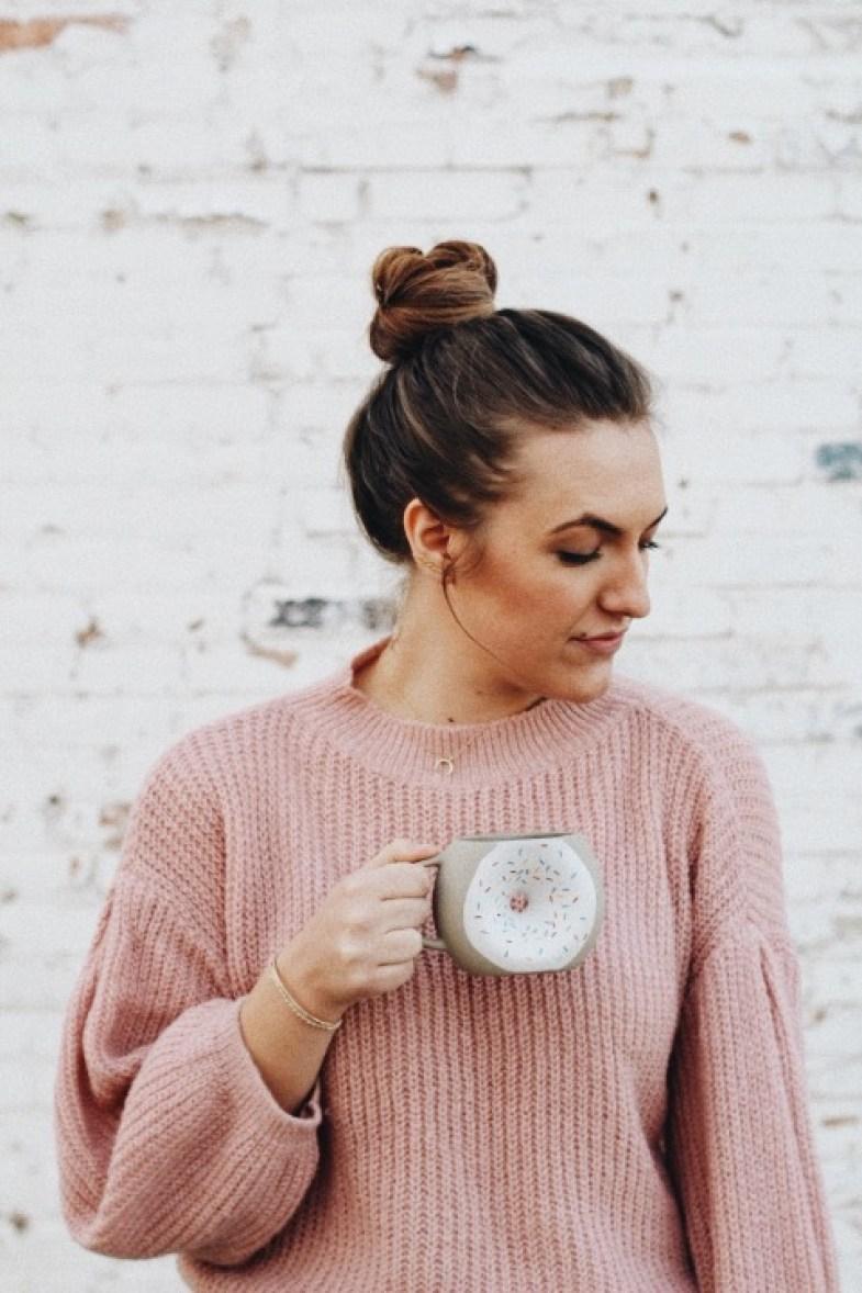 dress warm stylish pink sweater